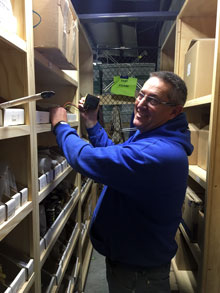 craig phelps of usd 265 goddard schools in storage closet for stock parts